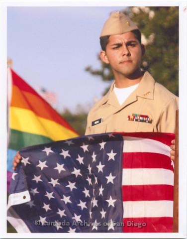 P233.005m.r.t Portraits for LASD City Hall Exhibit: Joseph Rocha holding American flag