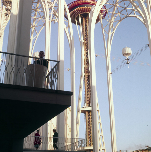 U.S. Science Pavilion Arches and Space Needle - 1962 Seattle World's Fair