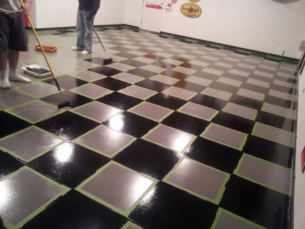 Checkered Epoxy Garage Floor  Here they painted the floor f  Flickr