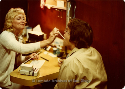 Blood Sisters blood drive, 1983- Peggy Skill having her temperature taken