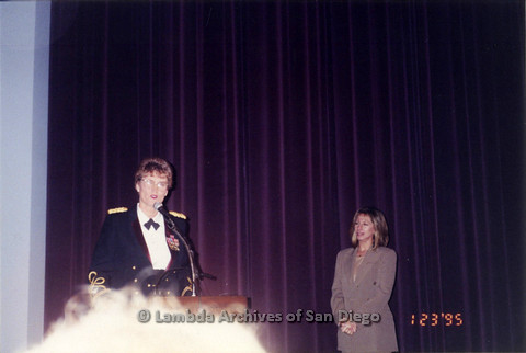 "P122.026m.r.t Screening of NBC TV film: ""Serving in Silence: the Margarethe Cammermeyer Story"": Margarethe Cammermeyer standing behind podium and speaking into the microphone"