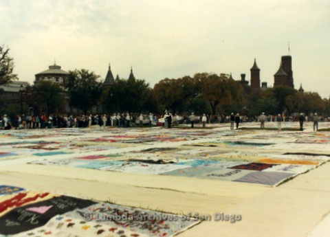 P019.300m.r.t AIDS Memorial Quilt 1987: Large crowd of people looking at the AIDS Memorial Quilt