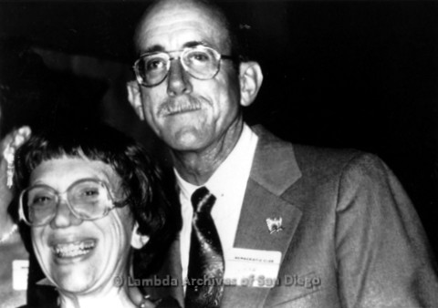 Jess Jessop standing with Gloria Johnson at Democratic Club event, c.1978