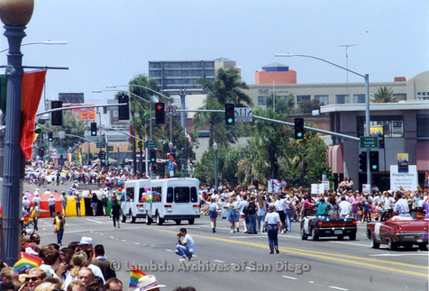 P018.107m.r.t San Diego Pride Parade 1992: Long view of parade downtown