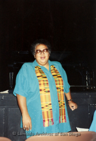 """""""The Magic Music Makes"""" San Diego Women's Chorus (SDWC) first choral festival with Sister Singers 1991: Cynthia Lawrence Wallace, Chorus Conductor."""