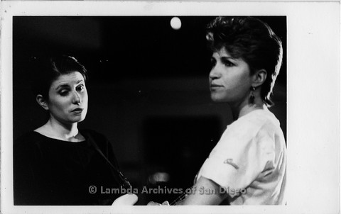 """March 1989 - """"So Many Women"""" Video Shoot: Zanne Aurilio (left) and Donna Walker (right) on Video Set."""