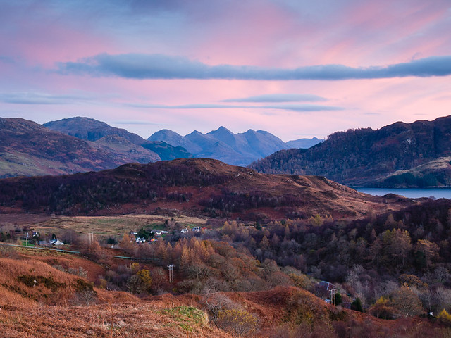 Late autumn evening looking towards the 5 Sisters of Kintail II