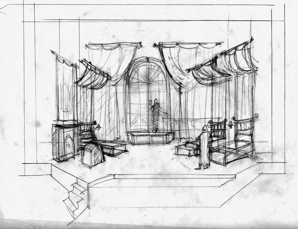 Nursery: Scenic Design Sketch for PETER PAN by Linda Bucha