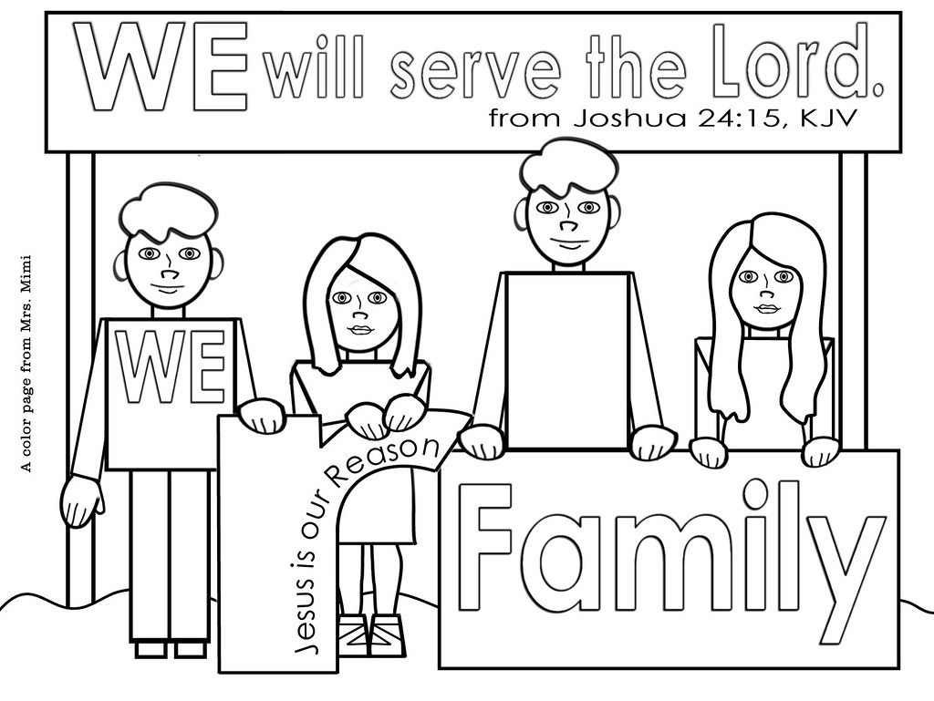 Christian Family Color Pages For Christmas Or Anytime