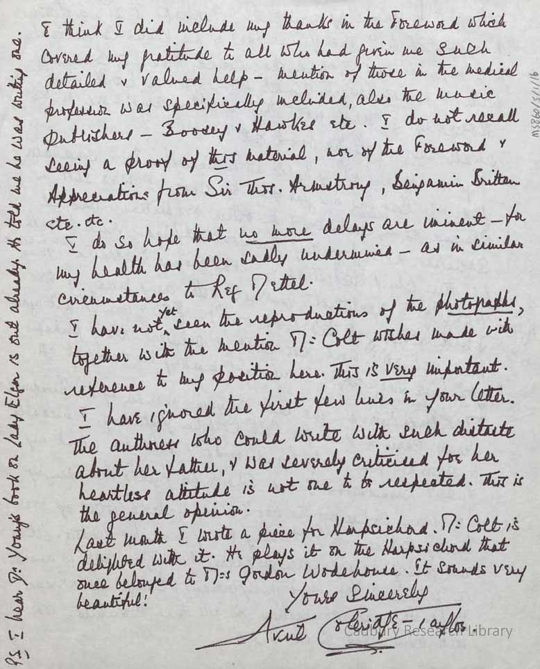 Letter from Avril Coleridge-Taylor to the publisher, Denni