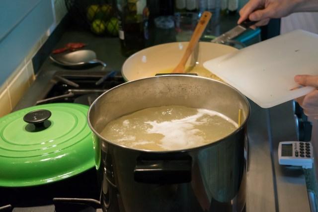 adding raw garlic