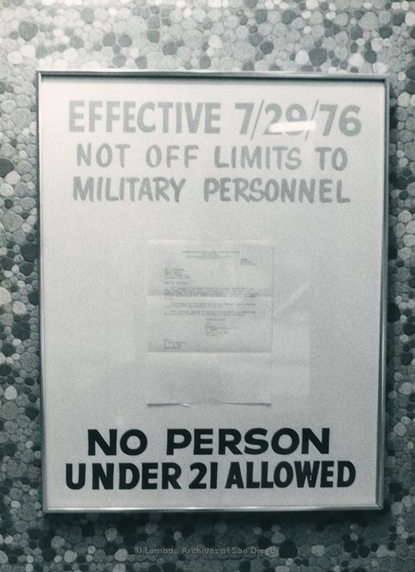 Sign stating that this bar is no longer off limits to Military Personnel at the Capri Men's Gay Bar in Oceanside - 7/29/1976