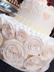 white wedding rose cake - sideview