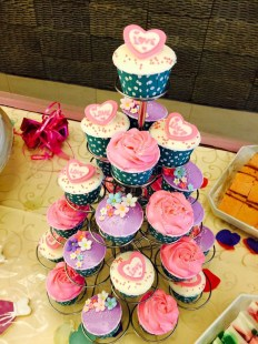 pink&violet theme wedding cupcake