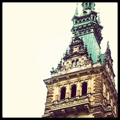 Ornate tower of #Rathaus (City Hall) in #Hamburg, #Germany