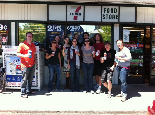 Maker team at 7/11 for free slurpee day!