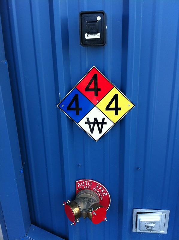 hazmat sign at Boulder Hazardous Materials Management Facility