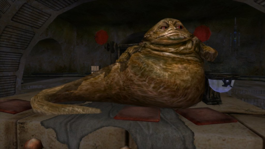 Jabba the Hutt  The gangster Jabba the Hutt in his palace