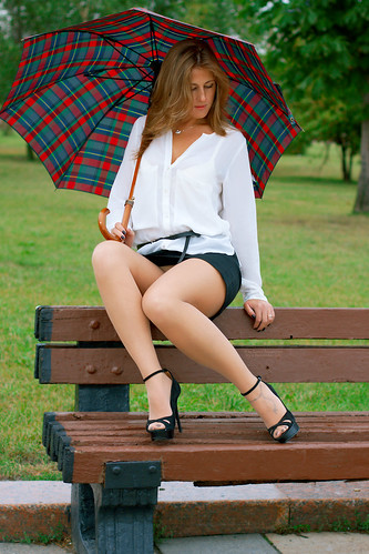 Anya Bo summer dull day in Moscow  Very short skirt