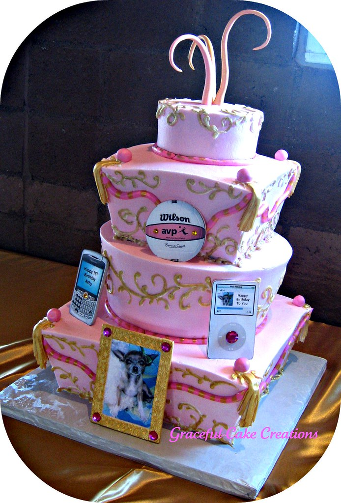 Whimsical Pink And Gold Quinceanera Cake This Cake Was So Flickr