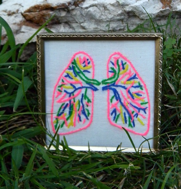 Human Lung Embroidery Wall Decor