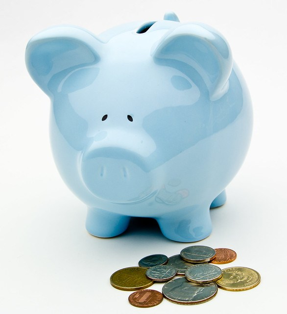 Blue Piggy Bank With Coins - Retirement