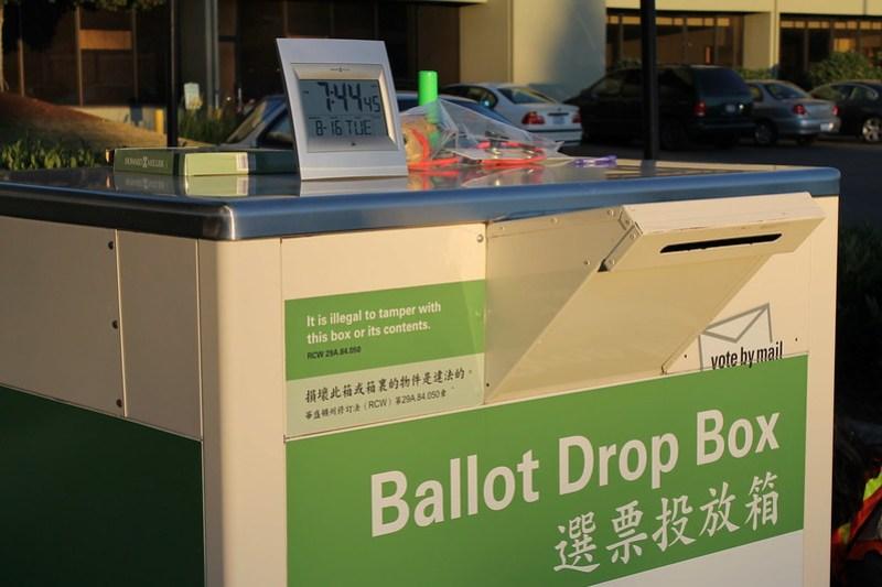 Preparing to close the ballot drop box