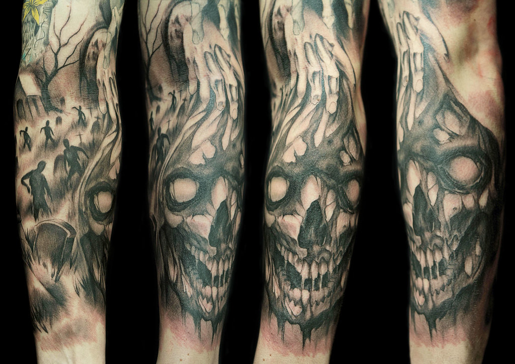Zombie Skull Inferno Tatuajes Flickr