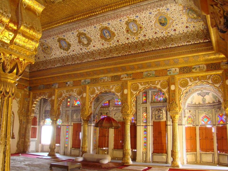 sala de recepcion y audiencia interior Phool Mahal Palacio de las flores Fuerte Mehrangarh en Jodhpur India 14