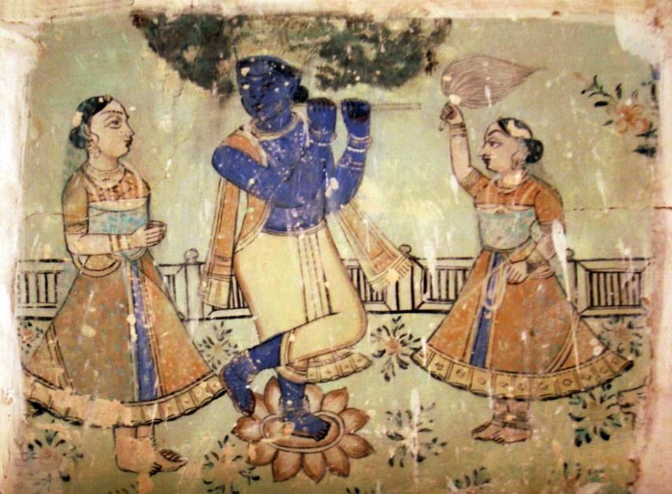 pintura mural al fresco Museo del Fuerte Mehrangarh en Jodhpur India 04