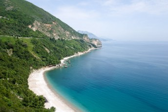 Beautiful beaches along the coast road from Budva to Bar in Montenegro