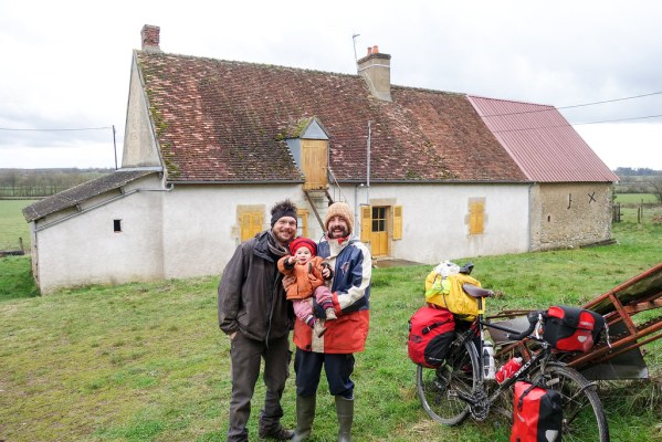 First stay at a place I found on warmshowers.org, near Decize, just off the Loire.  Stayed for free, ate lots of savoury pancakes and drank lots of beer, and they even helped me fix my bike up