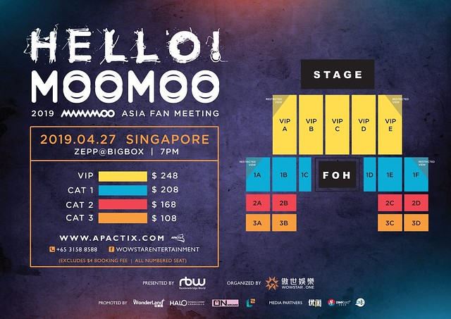 2019 MAMAMOO [HELLO! MOOMOO] Asia Fan Meeting in Singapore Seating Plan