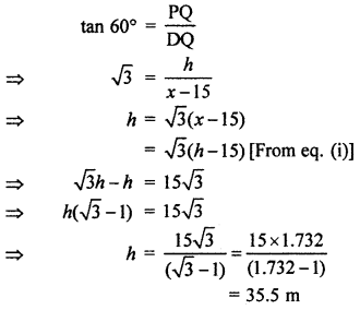 RBSE Solutions for Class 10 Maths Chapter 8 Height and Distance Q.19.2