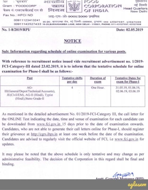 FCI Exam Date 2019