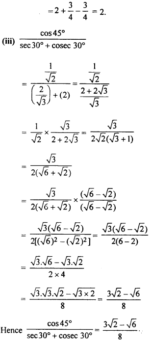RBSE Solutions for Class 10 Maths Chapter 6 Trigonometric Ratios 2Q.3.4