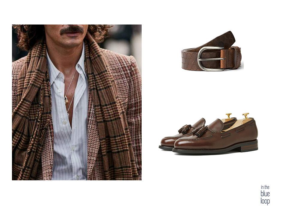 Smart-casual con blazer, camisa blanca, cinturón Nublo de blue hole y mocasines marrones
