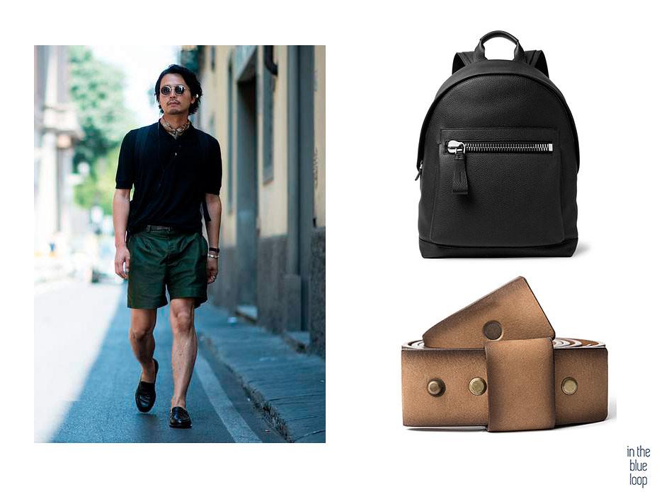 Look casual con shorts, mochila y cinturón Famara en piel de curtición vegetal de blue hole