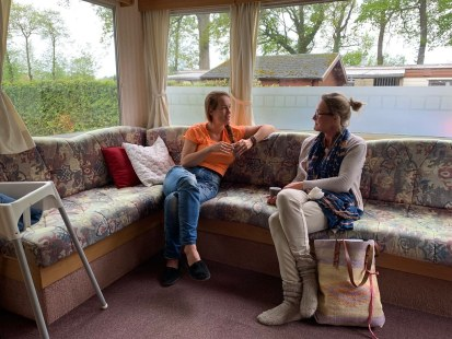 Business session with a dear friend / customer in our mobile home:)