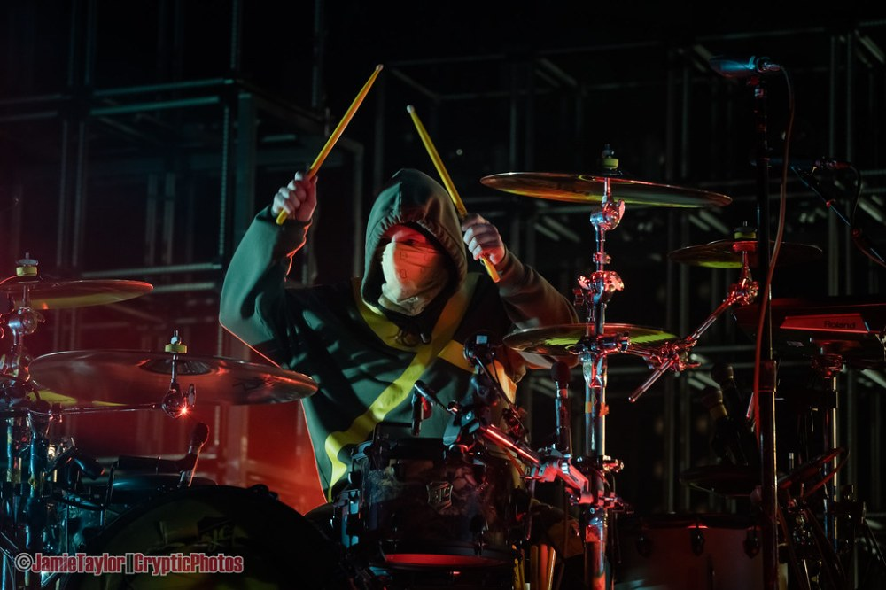 Drummer Josh Dun of Twenty One Pilots performing at Rogers Arena in vancouver, BC on May 12th, 2019