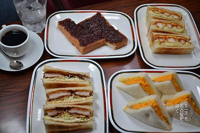 小倉土司(左上)、炸蝦三明治(右上)、豬排三明治(左下)、雞蛋三明治(右下)