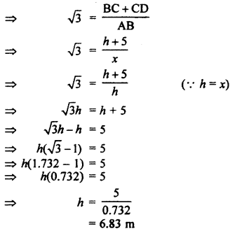 RBSE Solutions for Class 10 Maths Chapter 8 Height and Distance 3Q.11.2
