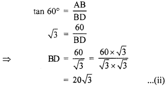 RBSE Solutions for Class 10 Maths Chapter 8 Height and Distance 3Q.9.2