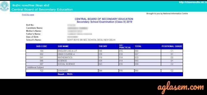 cbse class 10th result 2019