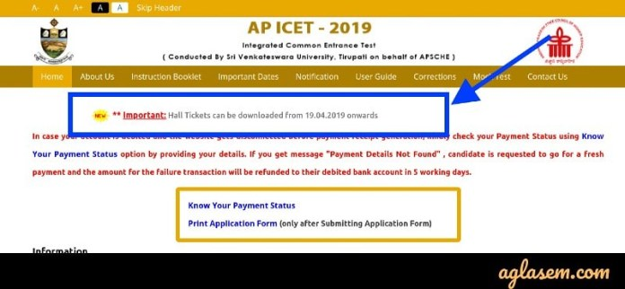 AP ICET 2019 Hall Ticket Date