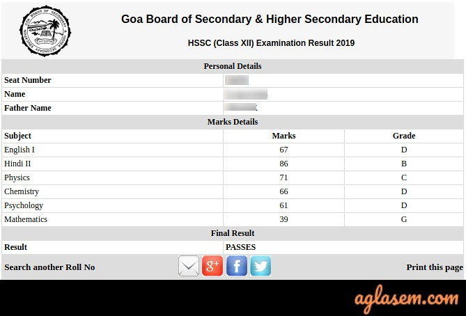 Goa HSSC Result 2019 Name Wise
