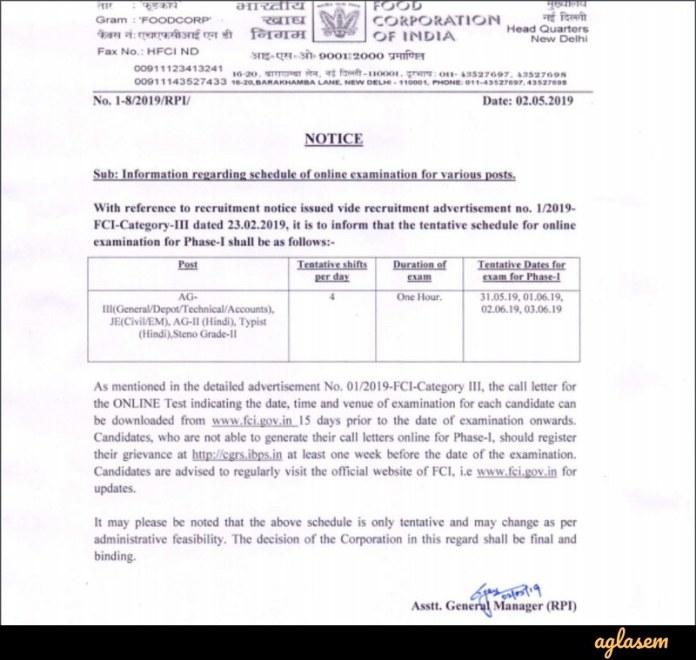FCI 2019 Examination Date - Notice