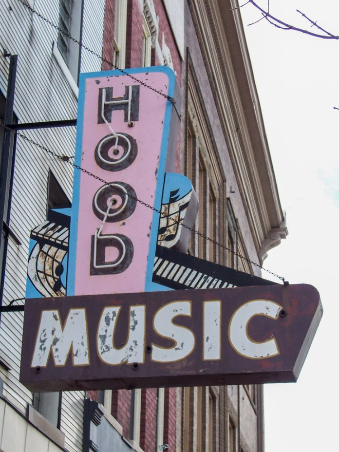 Hood Music sign