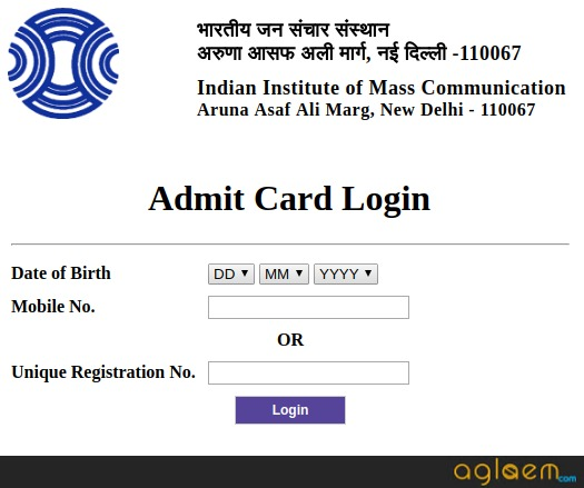 IIMC Admit Card 2019 Login