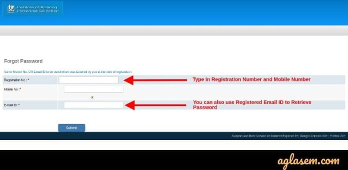 IBPS RRB Forget Password